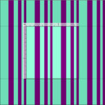 [ Thumbnail: Purple and Aquamarine Lined/Striped Pattern Fabric ]