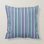[ Thumbnail: Purple and Aquamarine Lined/Striped Pattern Pillow ]