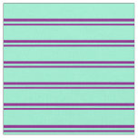 [ Thumbnail: Purple and Aquamarine Striped/Lined Pattern Fabric ]