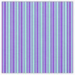 [ Thumbnail: Purple and Aquamarine Striped Pattern Fabric ]