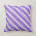 [ Thumbnail: Purple and Beige Stripes Pattern Throw Pillow ]