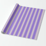 [ Thumbnail: Purple and Beige Stripes Pattern Wrapping Paper ]