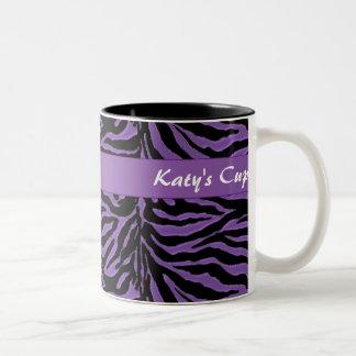 Purple and Black Animal Print Two-Tone Coffee Mug