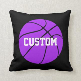 Purple and Black Basketball Custom Throw Pillow