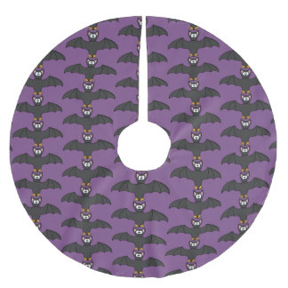 Purple and Black Bat Halloween Tree Skirt
