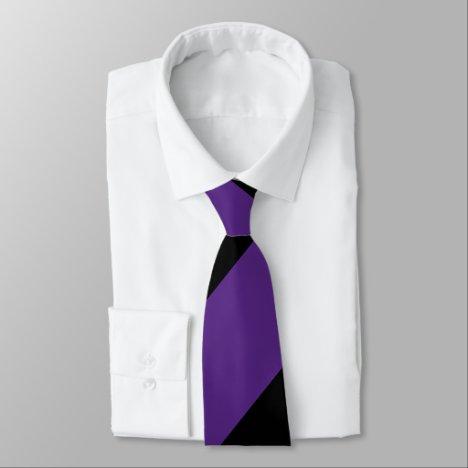 Purple and Black Broad Regimental Stripe Neck Tie