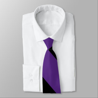 Purple and Black Broad University Stripe Tie
