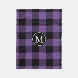 Purple and Black Buffalo Check Monogram Fleece Blanket