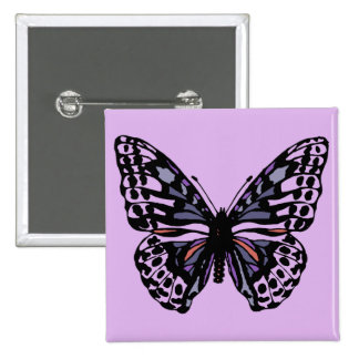 Purple and Black Butterfly Pinback Button