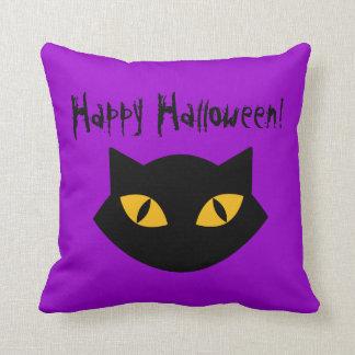 Purple And Black Cat Happy Halloween Pillow