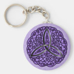 Purple and Black Celtic Art Trinity Knot Basic Round Button Keychain