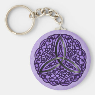 Purple and Black Celtic Art Trinity Knot Keychain