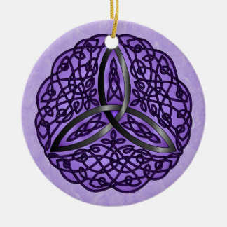 Purple and Black Celtic Art Trinity Knot Double-Sided Ceramic Round Christmas Ornament
