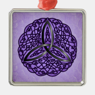 Purple and Black Celtic Art Trinity Knot Square Metal Christmas Ornament