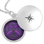 Purple and Black Celtic Cross Locket