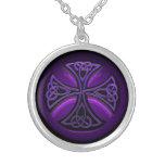 Purple and Black Celtic Cross Necklace
