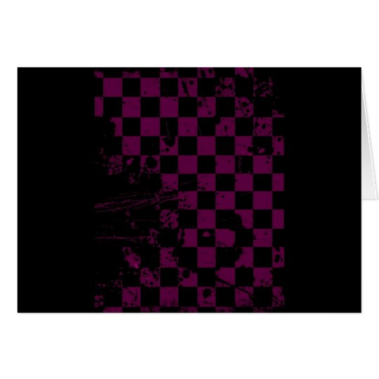 purple and black checkered card