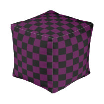 Purple and Black Checkered Cube Pouf