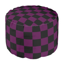 Purple and Black Checkered Footstool Pouf