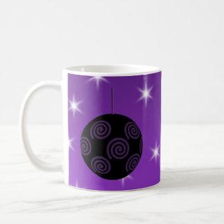 Purple and Black Christmas Bauble. Mug