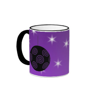 Purple and Black Christmas Bauble Mug