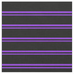 [ Thumbnail: Purple and Black Colored Striped Pattern Fabric ]
