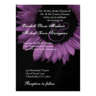 Purple and Black Colored Sunflower Wedding LARGE Card