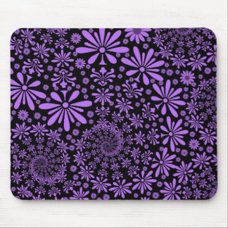 Purple and Black Cute Floral Pattern Mouse Pad