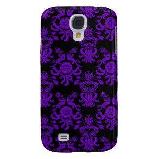 Purple and Black Damask 3 Galaxy S4 Case