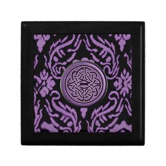 Purple and Black Damask and Celtic Knot Keepsake Box