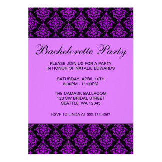 Purple and Black Damask Bachelorette Party Custom Invitations