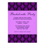 Purple and Black Damask Bachelorette Party 5x7 Paper Invitation Card