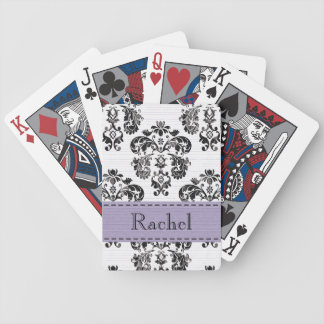 Purple and Black Damask Bicycle® Playing Cards