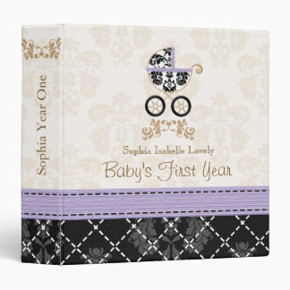 Purple and Black DAMASK Carriage Baby Photo Album 3 Ring Binders