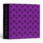 Purple and Black Damask Design. Gothic. Vinyl Binder