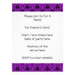 Purple and Black Damask Design. Gothic. Custom Invitation