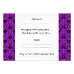 Purple and Black Damask Design. Gothic. Custom Invites