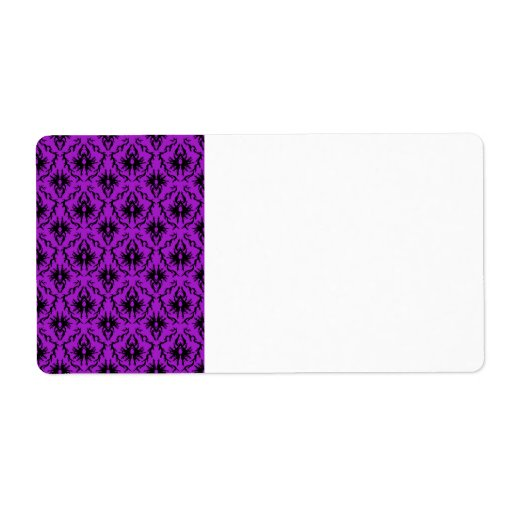 Purple and Black Damask Design. Gothic. Personalized Shipping Label