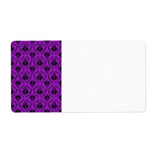 Purple and Black Damask Design. Gothic. Label