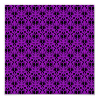Purple and Black Damask Design. Gothic. Poster