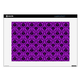Purple and Black Damask Design Gothic Laptop Decal
