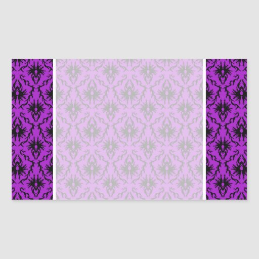 Purple and Black Damask Design. Gothic. Rectangular Stickers