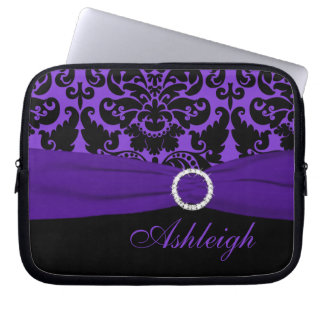 Purple and Black Damask FAUX Ribbon Laptop Sleeve
