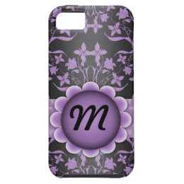 Purple and Black Damask Monogram iPhone SE/5/5s Case
