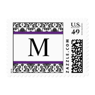 Purple and Black Damask Monogram Postage