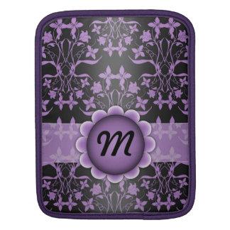 Purple and Black Damask Monogram Sleeve For iPads