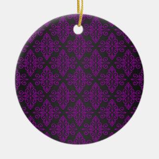 Purple and Black Damask Pattern Ceramic Ornament