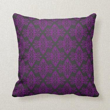 Purple and Black Damask Pattern Pillow