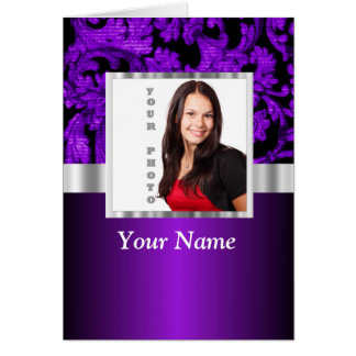 Purple and black damask photo template card