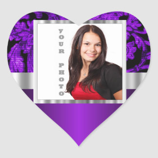 Purple and black damask photo template heart sticker